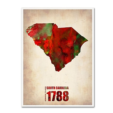 Trademark Fine Art 'South Carolina Watercolor Map' 35