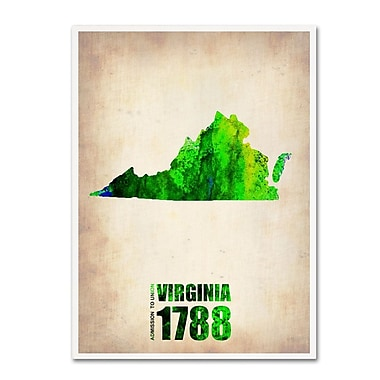 Trademark Fine Art 'Virginia Watercolor Map' 14