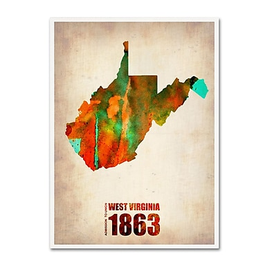 Trademark Fine Art 'West Virginia Watercolor Map' 14