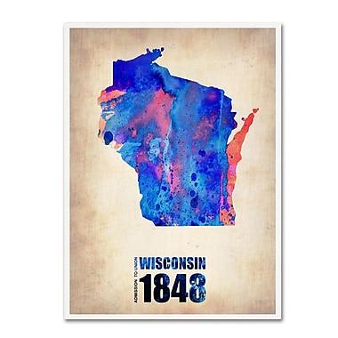 Trademark Fine Art 'Wisconsin Watercolor Map' 18