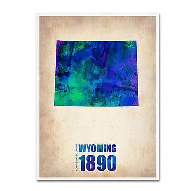Trademark Fine Art 'Wyoming Watercolor Map' 14
