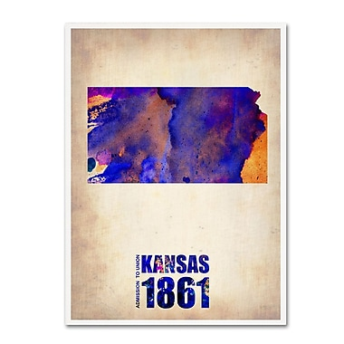 Trademark Fine Art 'Kansas Watercolor Map' 18