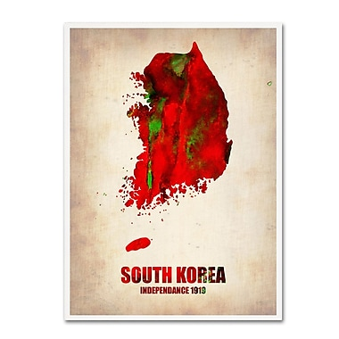 Trademark Fine Art 'South Korea Watercolor Map' 14