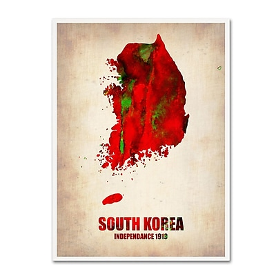 Trademark Fine Art 'South Korea Watercolor Map' 18
