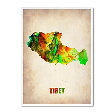 Trademark Fine Art 'Tibet Watercolor Map' 14