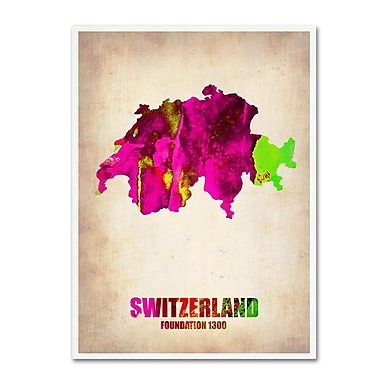 Trademark Fine Art 'Switzerland Watercolor Map' 14