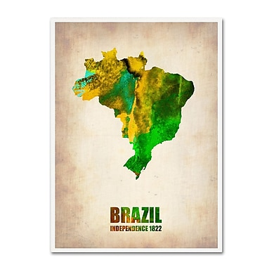 Trademark Fine Art 'Brazil Watercolor Map' 35