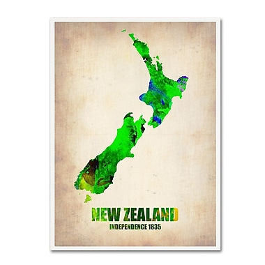 Trademark Fine Art 'New Zealand Watercolor Map' 24