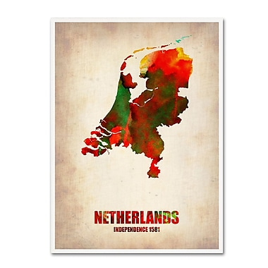 Trademark Fine Art 'Netherlands Watercolor Map' 24