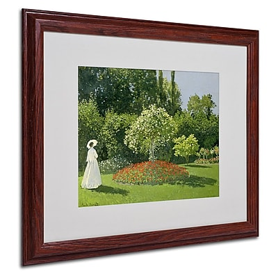 "Trademark Fine Art 'Jeanne Marie Lecadre in the Garden' 16"" x 20"" Wood Frame Art"