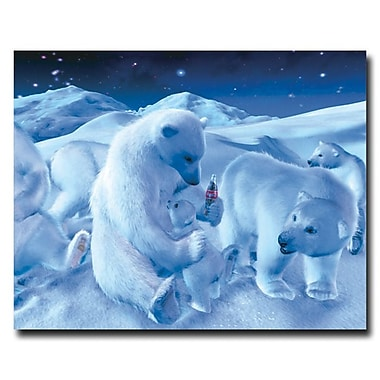 Trademark Fine Art 'Coke Polar Bear Sitting with Cub and Bottle' 28