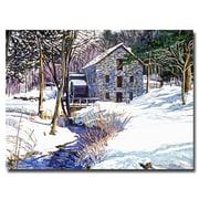 "Trademark Fine Art 'Snow Mill' 35"" x 47"" Canvas Art"