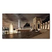 """Trademark Fine Art 'World War II Memorial at Night' 12"""" x 24"""" Canvas Art"""