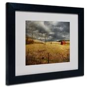 """Trademark Fine Art 'Winter Begins' 16"""" x 20"""" Wood Frame Art"""