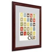 "Trademark Fine Art 'Alpha Bits Earth Tones' 16"" x 20"" Wood Frame Art"