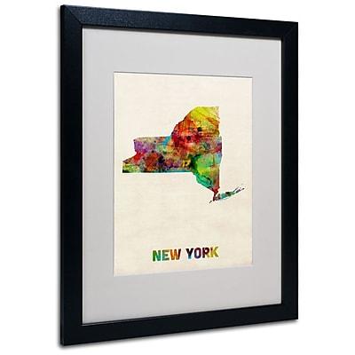 """Trademark Fine Art 'New York Map' 16"""" x 20"""" Black Frame Art"""