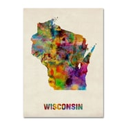 "Trademark Fine Art 'Wisconsin Map' 14"" x 19"" Canvas Art"
