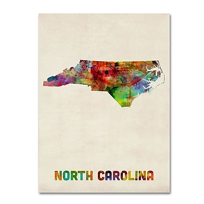 Trademark Fine Art 'North Carolina Map' 24