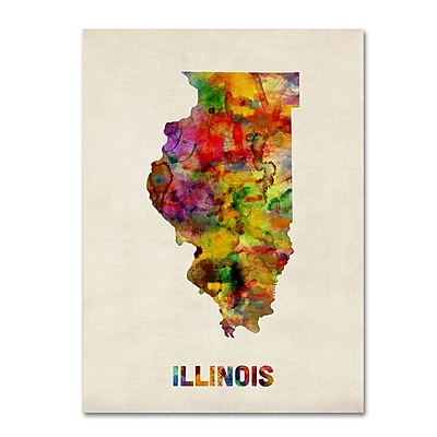 Trademark Fine Art 'Illinois Map' 14