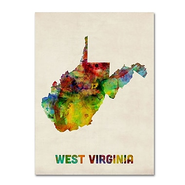 Trademark Fine Art 'West Virginia Map' 24