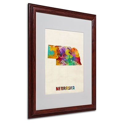 Trademark Fine Art 'Nebraska Map' 16