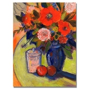 "Trademark Fine Art 'Red Flowers with Jar' 18"" x 24"" Canvas Art"