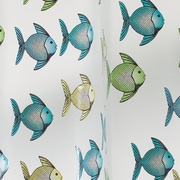 "InterDesign® 72"" x 72"" Frost Fishy EVA Vinyl Shower Curtain, Blue/Green"
