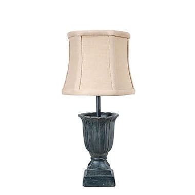 AHS Lighting Torino Urn Accent Lamp With Neutral Tan Fabric Shade, Steel Blue Gray