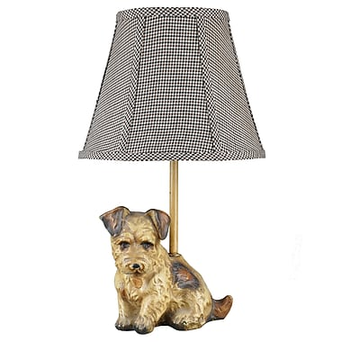 AHS Lighting Buddy Dog Accent Lamp With Black and White Houndstooth Fabric Shade, Brown