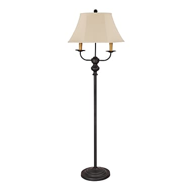 AHS Lighting Bayfield Floor Lamp With Dual Side Arms and Tan Linen Shade, Black