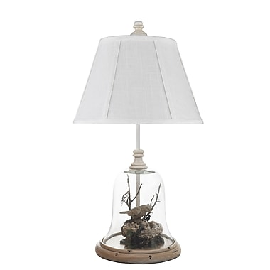 AHS Lighting Birds in Cloche Table Lamp With Classic Ivory Fabric Shade, Clear