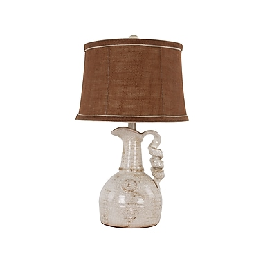 AHS Lighting Waterloo Ceramic Table Lamp With Cocoa Brown Burlap Shade, Ivory