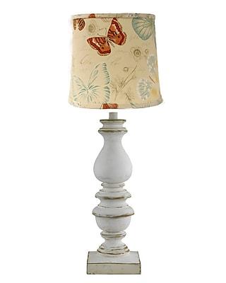 AHS Lighting Bishop Table Lamp With Indigo Ikat Shade, White
