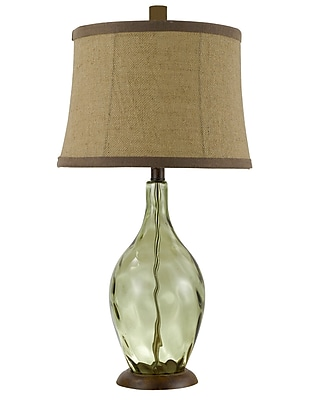 AHS Lighting Divino Glass Table Lamp With Tan Fabric Shade, Transparent Green