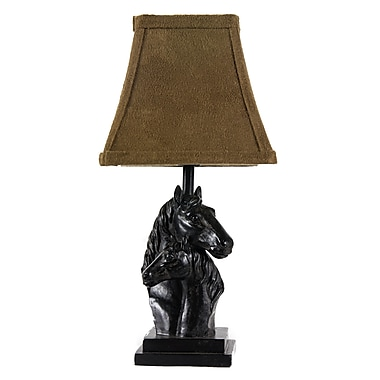 AHS Lighting Mare and Foal Accent Lamp With Faux Suede Shade, Black