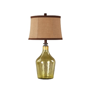 AHS Lighting Napa Glass Table Lamp With Removable Stopper, Rancho Golden Green