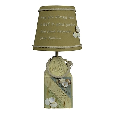 AHS Lighting Shell Buoy Accent Lamp With Seashells and Fabric Shade