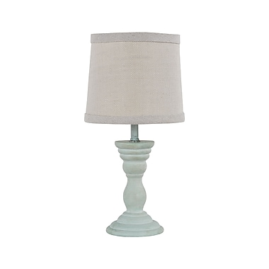 AHS Lighting Randolph Accent Lamp With White Burlap Fabric Shade, Light Blue