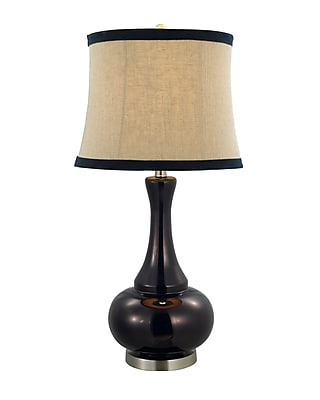 AHS Lighting Aladdin Glass Table Lamp With Natural Shade, Indigo