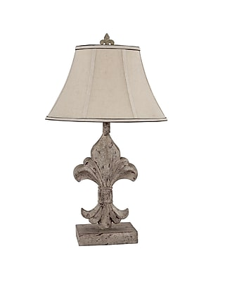 AHS Lighting Fleur De Lis Accent Lamp With Tan Linen Fabric Shade