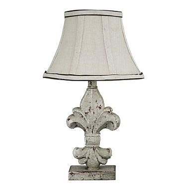AHS Lighting Fleur De Lis Table Lamp With Beige Linen Fabric Shade, Cement