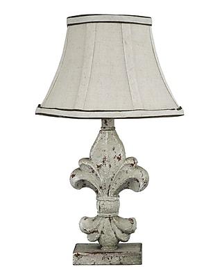 AHS Lighting Fleur De Lis Table Lamp With Beige Linen Fabric Shade, Cement