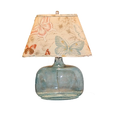 AHS Lighting Spa Glass Table Lamp With Butterfly Shade, Clear