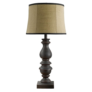 AHS Lighting Bishop Table Lamp With Burlap Shade, Brown/Black