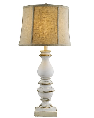 AHS Lighting Table Lamp With Tan Linen Shade, Bishop-White