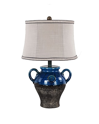 AHS Lighting Lyon Ceramic Table Lamp With Gray Slub Linen Shade, Blue