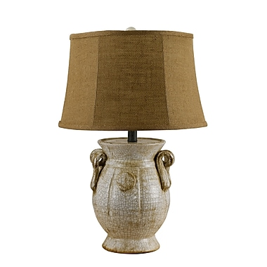 AHS Lighting St. Tropez Ceramic Table Lamp With Cocoa Slub Linen Shade, Ivory