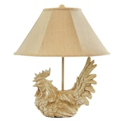 AHS Lighting Large Classic Rooster Accent Lamp With Six-Sided Burlap Shade, Tan