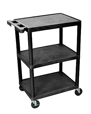 Duplicate DNU Luxor Structural Foam Plastic Three Shelf Utility Cart, Black