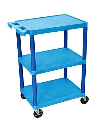 Luxor Structural Foam Plastic Three Shelf Utility Cart, Blue